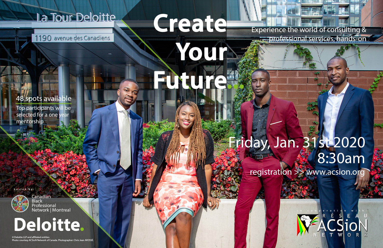"Flyer for ""Create Your Future"" event with Deloitte Canadian Black PRofessional Network and ACSioN Canada"