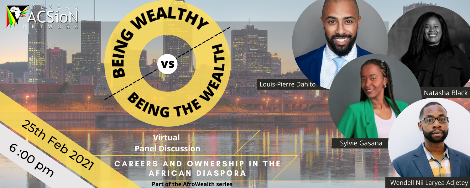 "Poster for AfroWealth season 2, episode 2 - ""Being Wealthy vs. Being the Wealth"" event"